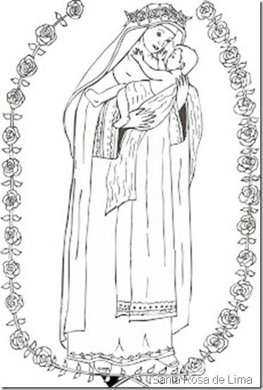 Dibujos de Santa Rosa de Lima para colorear | santa rosa de lima ...