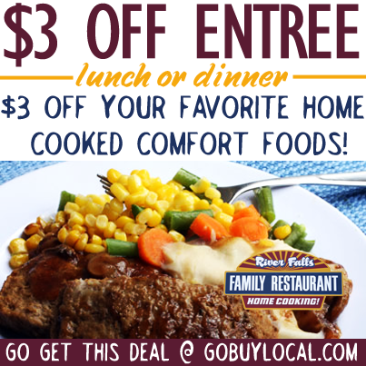 Great home-style cooking is good for the soul! Stop by the River Falls Family Restaurant this weekend and get $3 OFF ‪http://www.gobuylocal.com/offerseo/River_Falls-WI/River_Falls_Family_Restaurant/2368/1021/