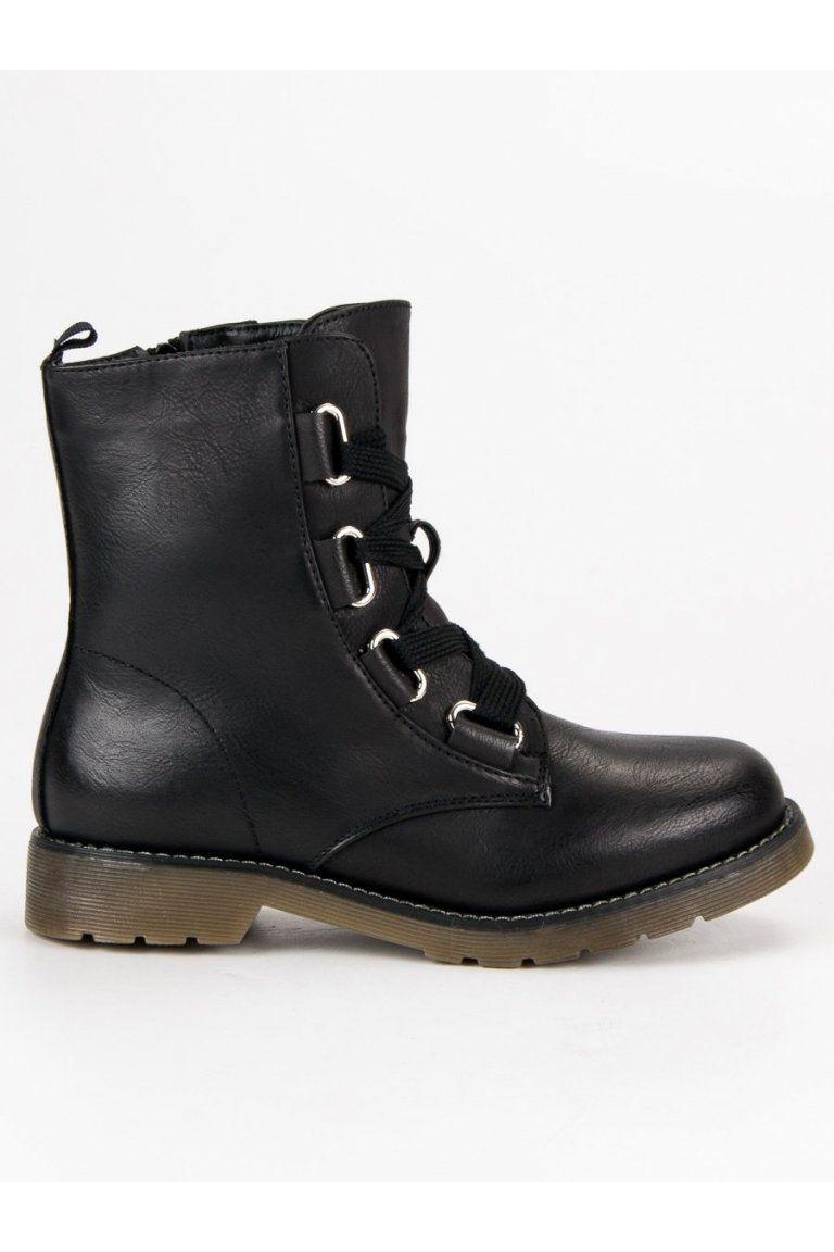 Čierne workery vysoké členkové čižmy s viazaním SDS  8a8e3847640
