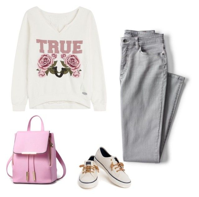 """outfit 3901"" by natalyag ❤ liked on Polyvore featuring Lands' End, True Religion and Sperry"