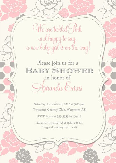 Lovely Girl Baby Shower Invitation Pink And Grey Floral Polka Dots   Printable.  $16.00, Via