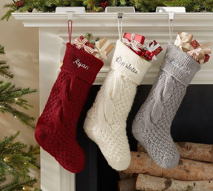 Pottery Barn Chunky Knit Stocking Pottery Barn Christmas Stocking Crochet Christmas Stocking Farmhouse Christmas
