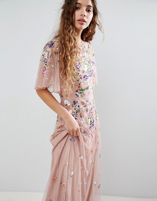 a197fd041b DESIGN floral embroidered dobby mesh flutter sleeve maxi dress in ...