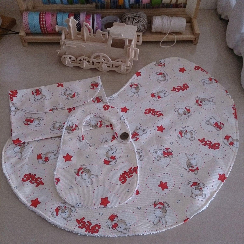 Set Baby Sweet (Baby Burp Cloth, Bib, Diaper Bag) di Mennule su Etsy