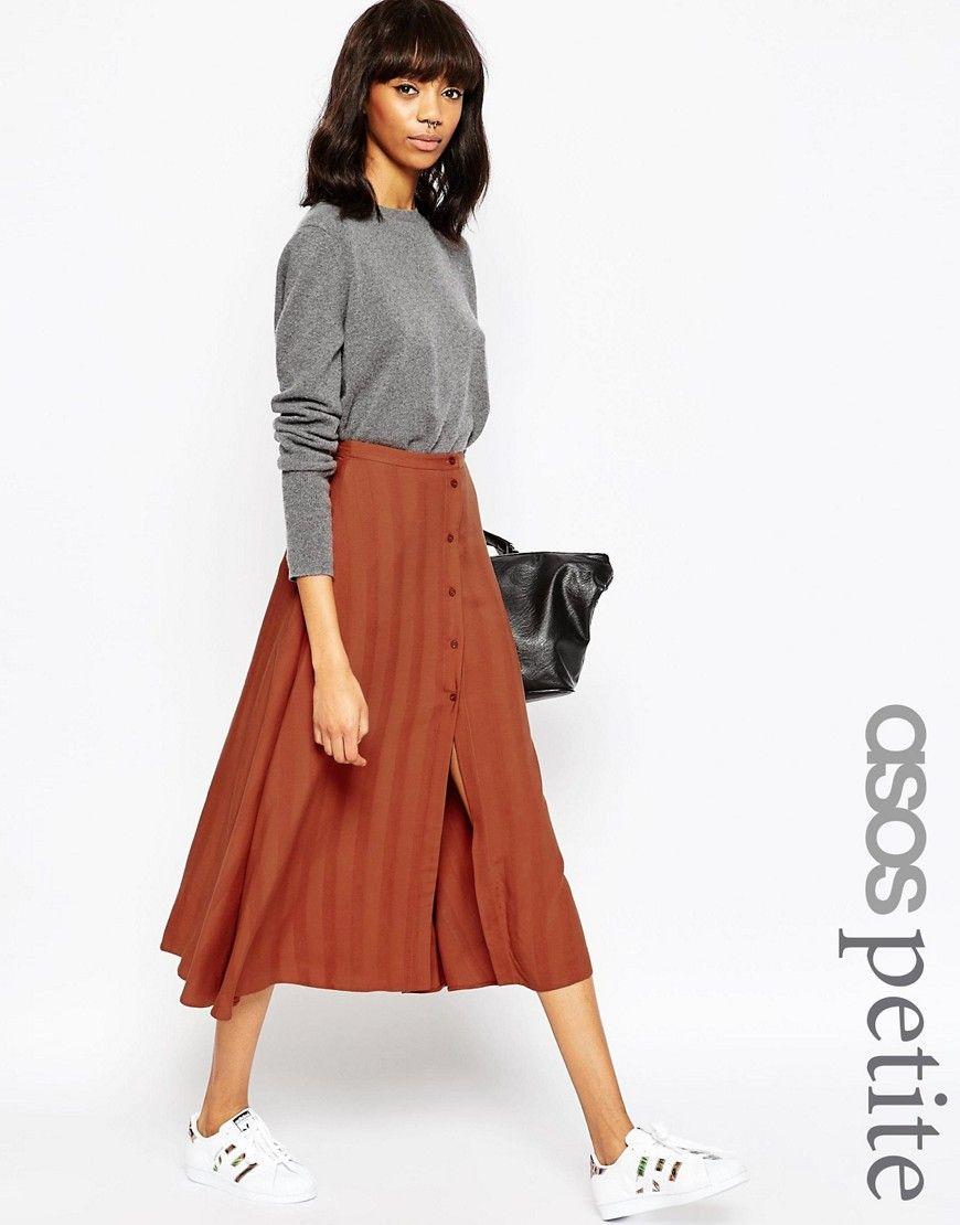 ASOS+PETITE+Midi+Skirt+with+Button+Through+in+Self+Stripe