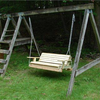 Make An Old Swingset Into A Two Person Hanging Swing Diy Porch Swing Porch Swing Swing Set