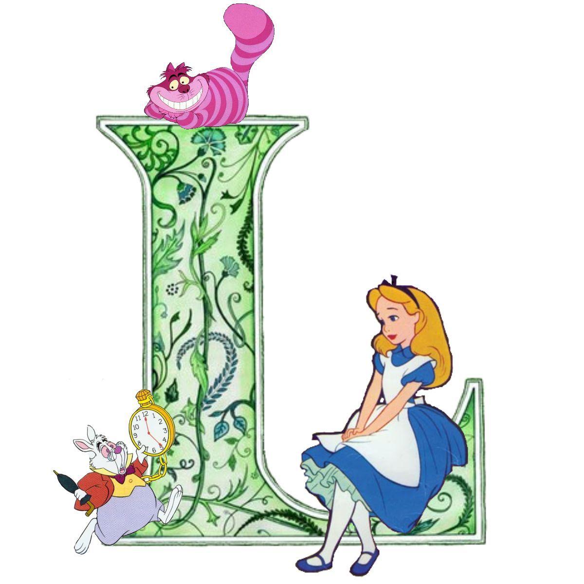 The Letter L With Alice In Wonderland Alice Au Pays Des Merveilles Pays Des Merveilles Ecriture Disney