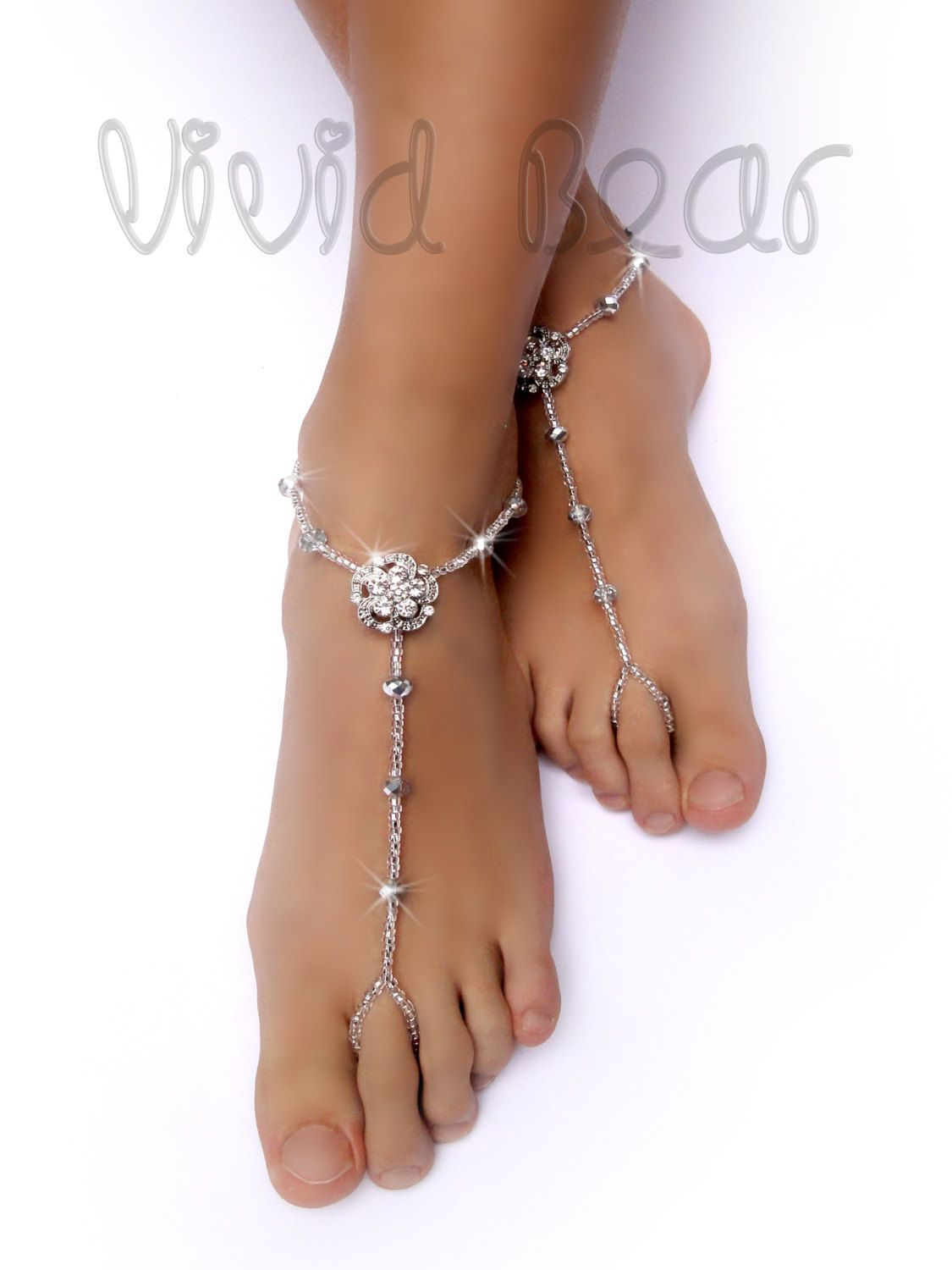 Sparkling Barefoot Sandals Silver Foot Jewelry Rhinestone Flower