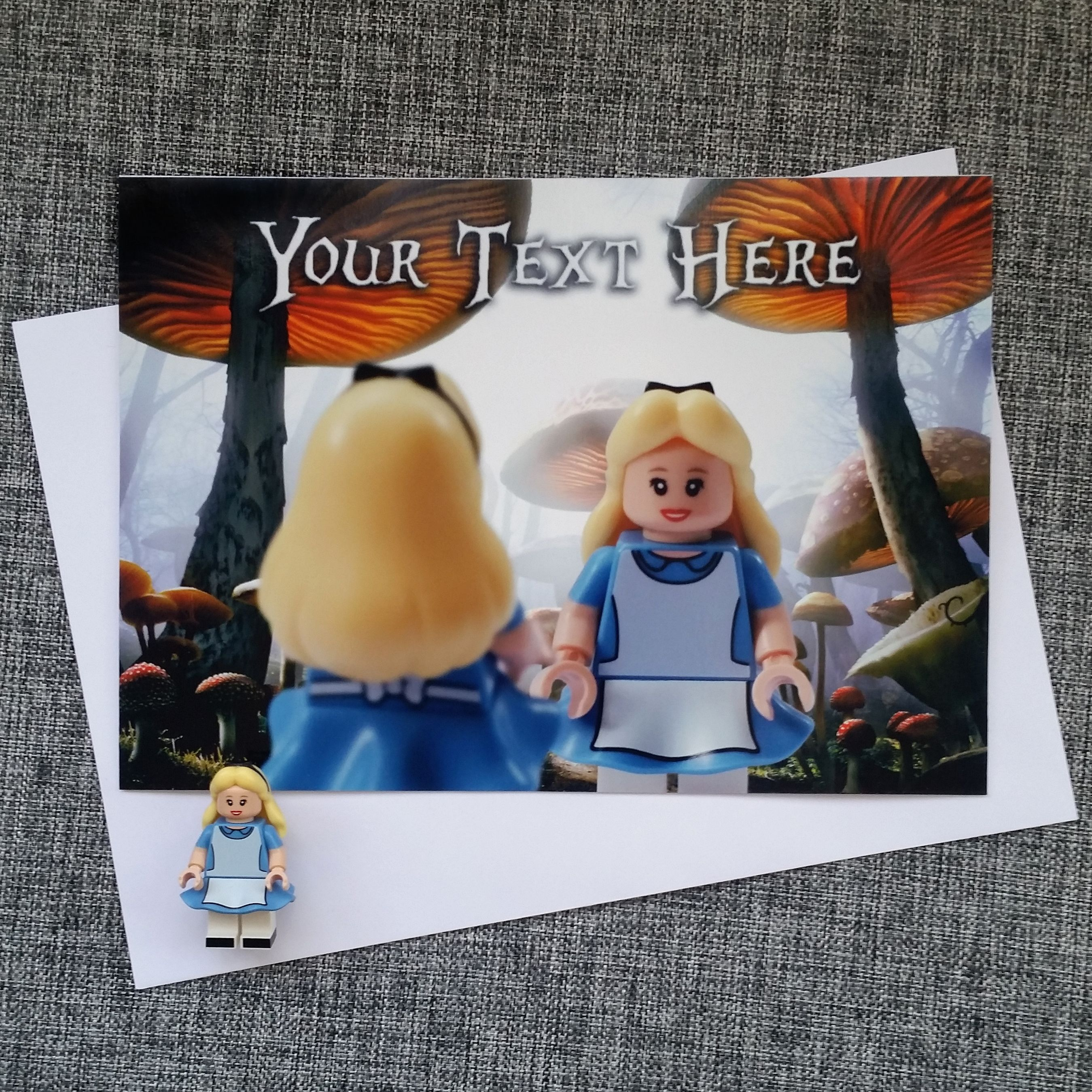 Lego Disney Alice In Wonderland Personalised Card From Magical Minifigures On Etsy Personalized Birthday Cards Handmade Birthday Cards Greeting Cards Handmade