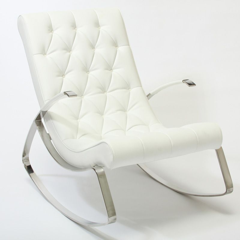 White Leather Rocker Modern Rocking Chair Tufted Rocking Chair Rocking Chair