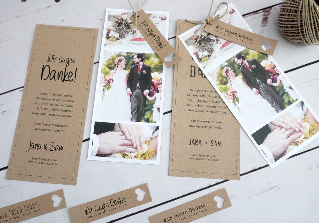 Photo of Danksagungskarte HEAVN aus Kraftpapier mit Fotostreifen und …