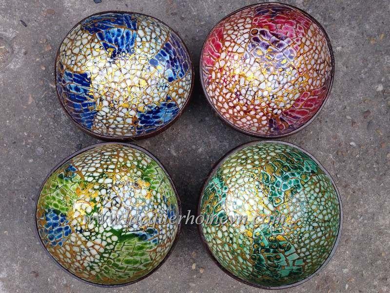 Vietnamese Lacquerware Factory, Vietnam Bamboo, Vietnam Handicrafts, HT5900  Vietnam Eggshell Inlaid Coconut Bowls