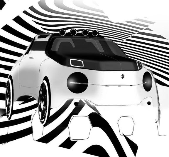 Stripy Suzuki . . . #cars #car #cardesign #cardesigner #cardesignworld #cardesigndaily #cardesigncommunity #sketch #photoshop #doodle #designsketch #future #concept #conceptcar #conceptsketch #suzuki #jimny #offroad #suv #crossover #foglights #micro... #exterior #exterior #sketch