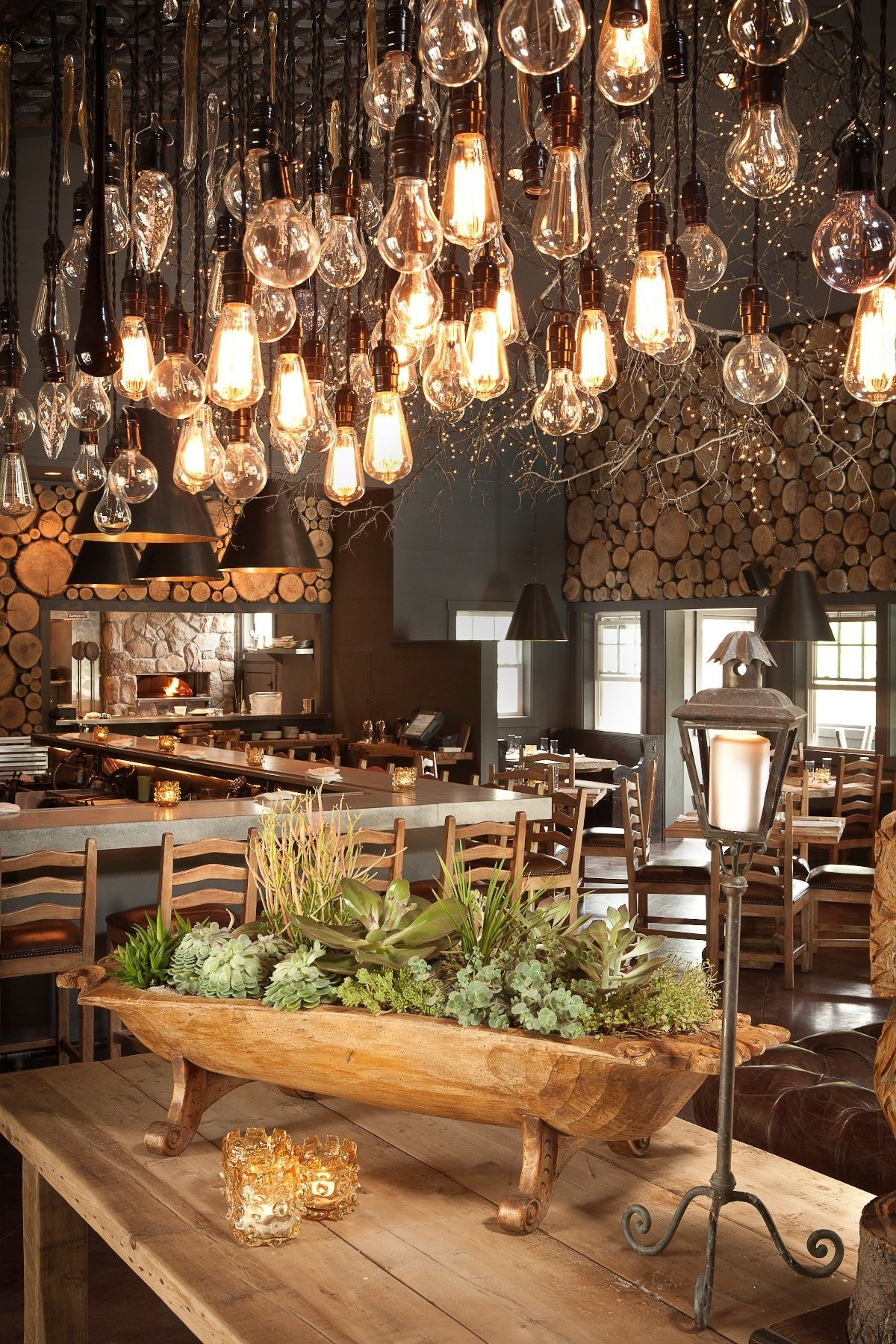 Rustic Chic Restaurant With Pendant Lights Interior