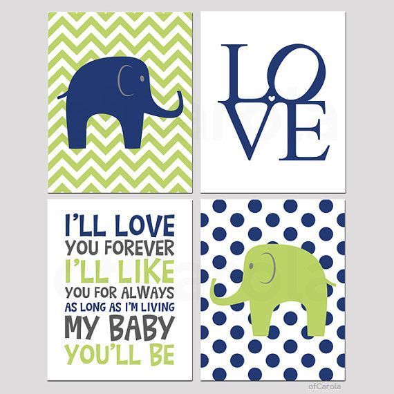 Elephant Wall Art Print Set Four Ill Love You Forever Text Kids Baby Boys Room Decor Nursery Navy Blue Lime Green Gray White OfCarola
