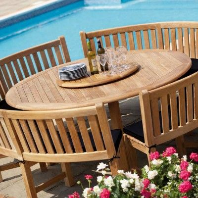 Circular Garden Table And Chairs Benches Round Outdoor Dining
