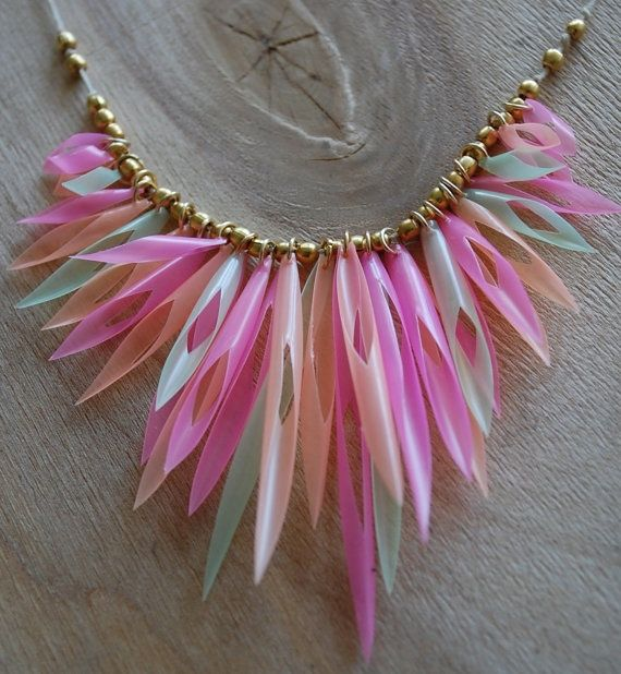Pink green and orange plastic drinking straws necklace by for Plastic straw art