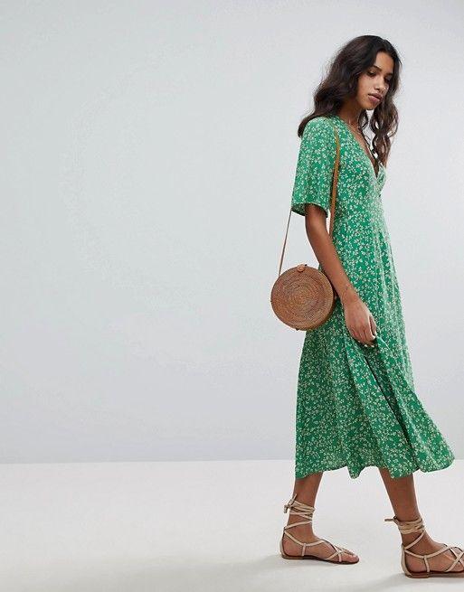 f4fbb409039a Faithful the Brand | Faithfull Floral Midi Dress. I love the color, print,  length, neckline, and sleeve style