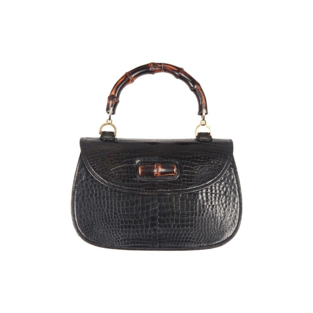 90c77095 Authentic GUCCI Vintage Black Crocodile leather BAMBOO BAG Top Handle  HANDBAG #Gucci #Vintage