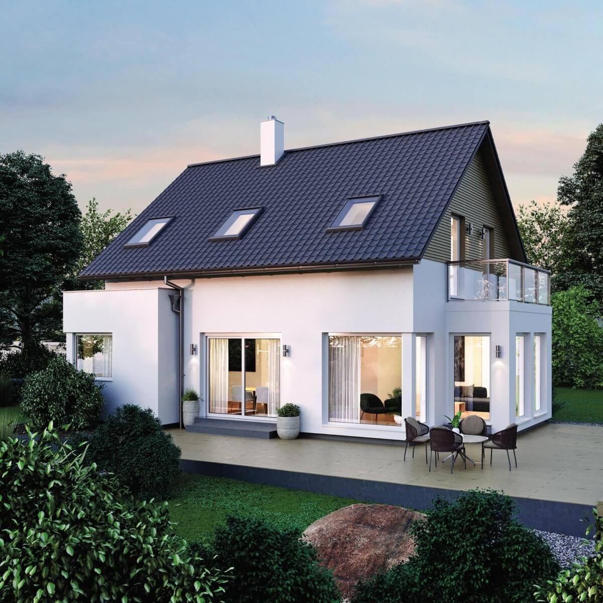 Modernes Einfamilienhaus Mit Erker Anbau Satteldach Architektur