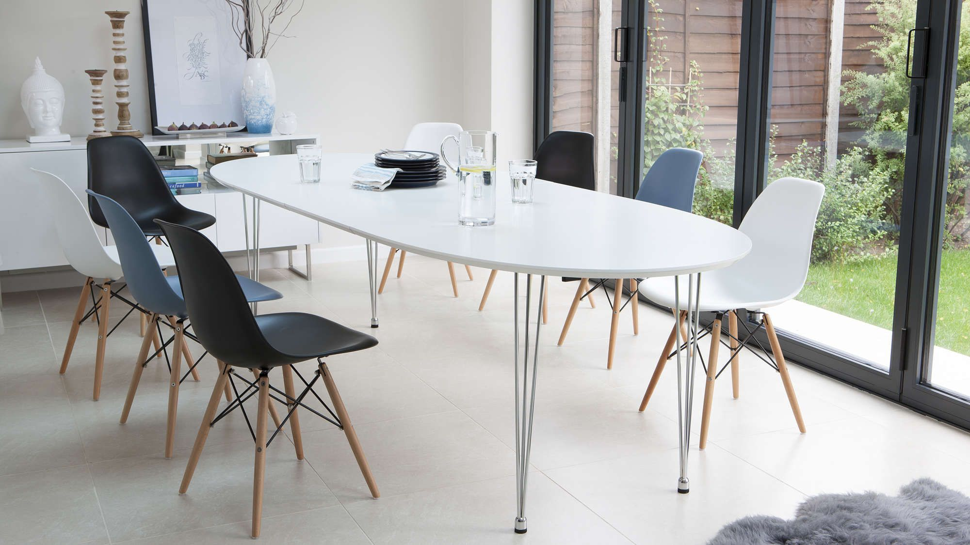Modern White Satin Oval Extending Dining Table 6 10 Seater Oval Table Dining Dining Table Dining Table Chairs