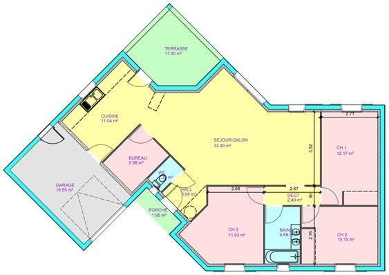 Maison Plain Pied 3 Chambres, Bureau, Terrasse
