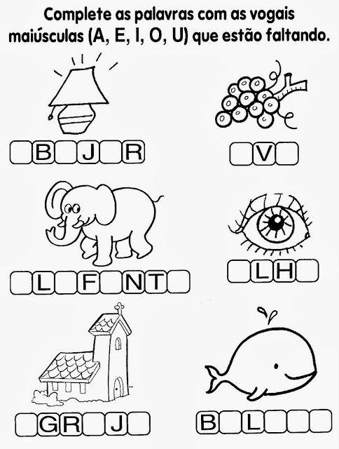 Atividades com vogais - Complete com vogais | Português | Pinterest