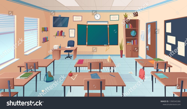 Classroom Interior School Or College Room With Desks Chalkboard Teacher Items For Lesson Vector Cartoon Illustration Spo Classroom Interior College Room Room