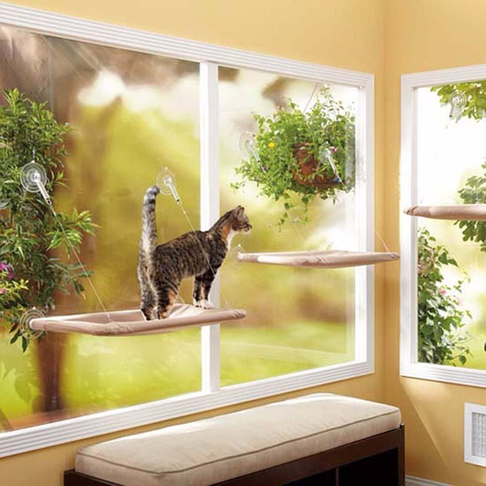 Window bed for cats   hot cat basking window hammock perch cushion bed hanging shelf