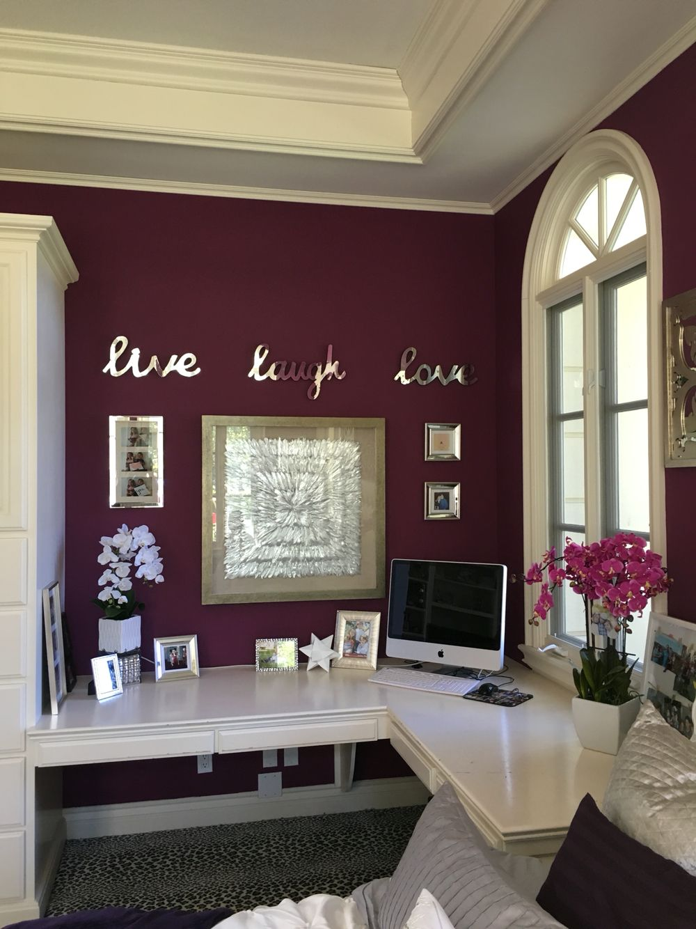 home office guest room. Home Office Space And Guest Room. Purple, Silver, White. Luxury Room
