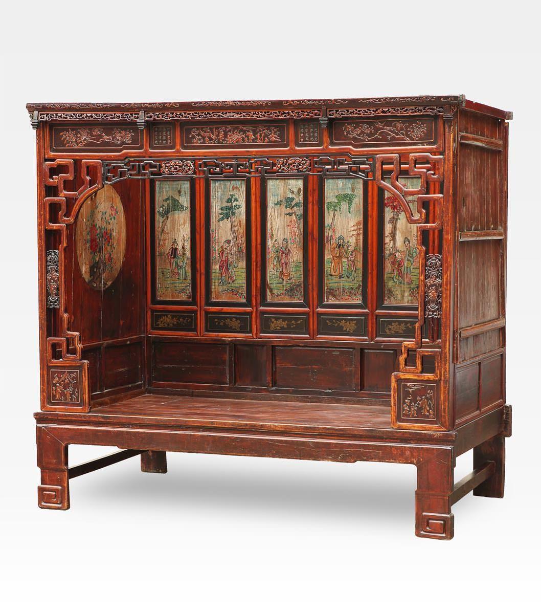 Cod. 0013-0169) Antico letto cinese in legno di olmo. Un pezzo di ...