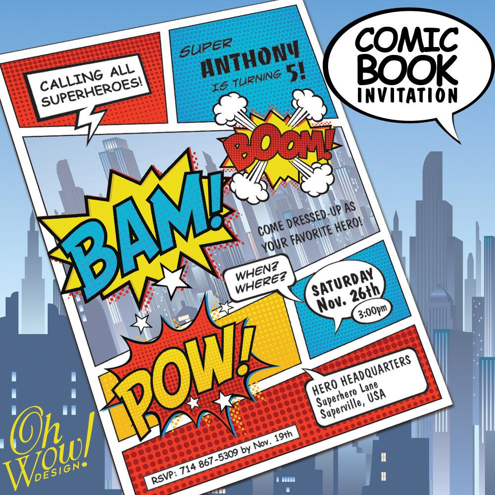 Comic book style super hero theme birthday costume party comic book style super hero theme birthday costume party invitation by ohwowdesign on etsy https filmwisefo Image collections