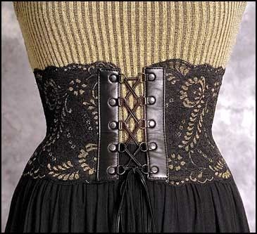 Victorian Inspired Black And Gold Leather And Lace Corset Belt
