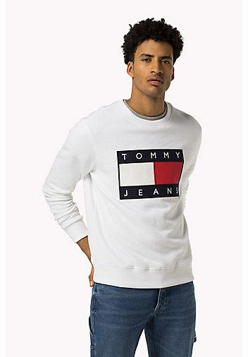 84415c85 HILFIGER DENIM Cotton Fleece Logo Sweatshirt - CLASSIC WHITE - HILFIGER  DENIM Sweatshirts & Hoodies - main image