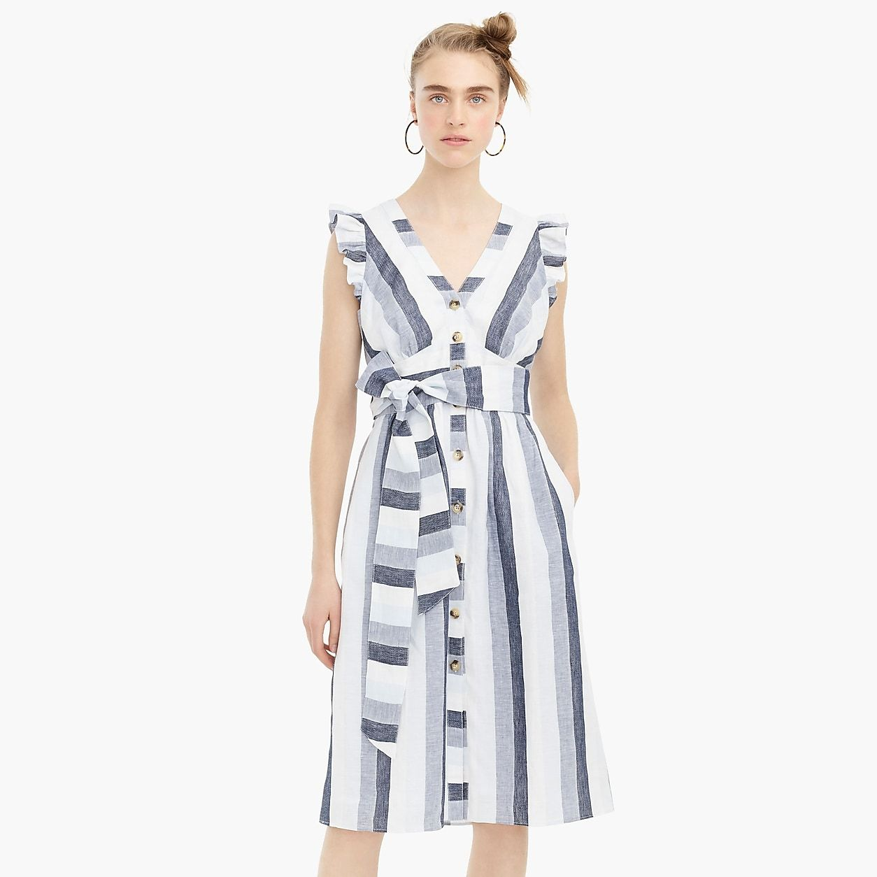 cd4880fe8b37 Button-Front Linen Midi Dress In Faded Indigo Stripe | Products in ...