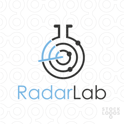 This stylized logo features a lab flask combined with a