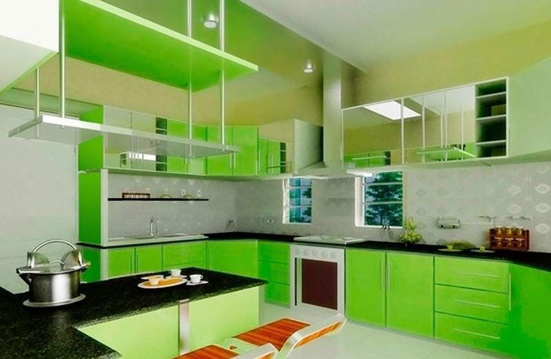 Kitchen Design In Green Color Beautiful House Kitchen Color Green Green Kitchen Green Kitchen Cabinets
