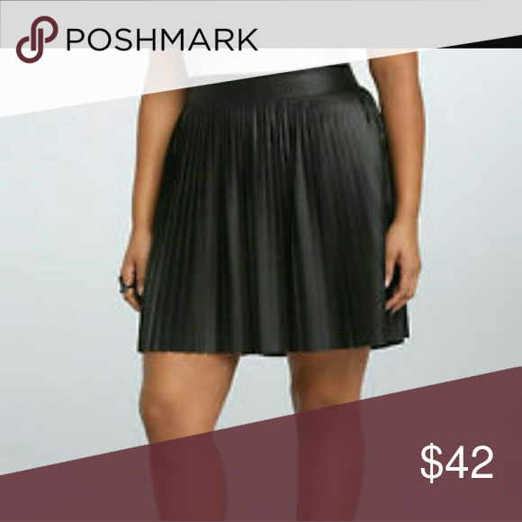 22773be6fa Torrid Black Pleated Leather Skirt Pleated Leather Skirt New Never Worn Torrid  Skirts Mini