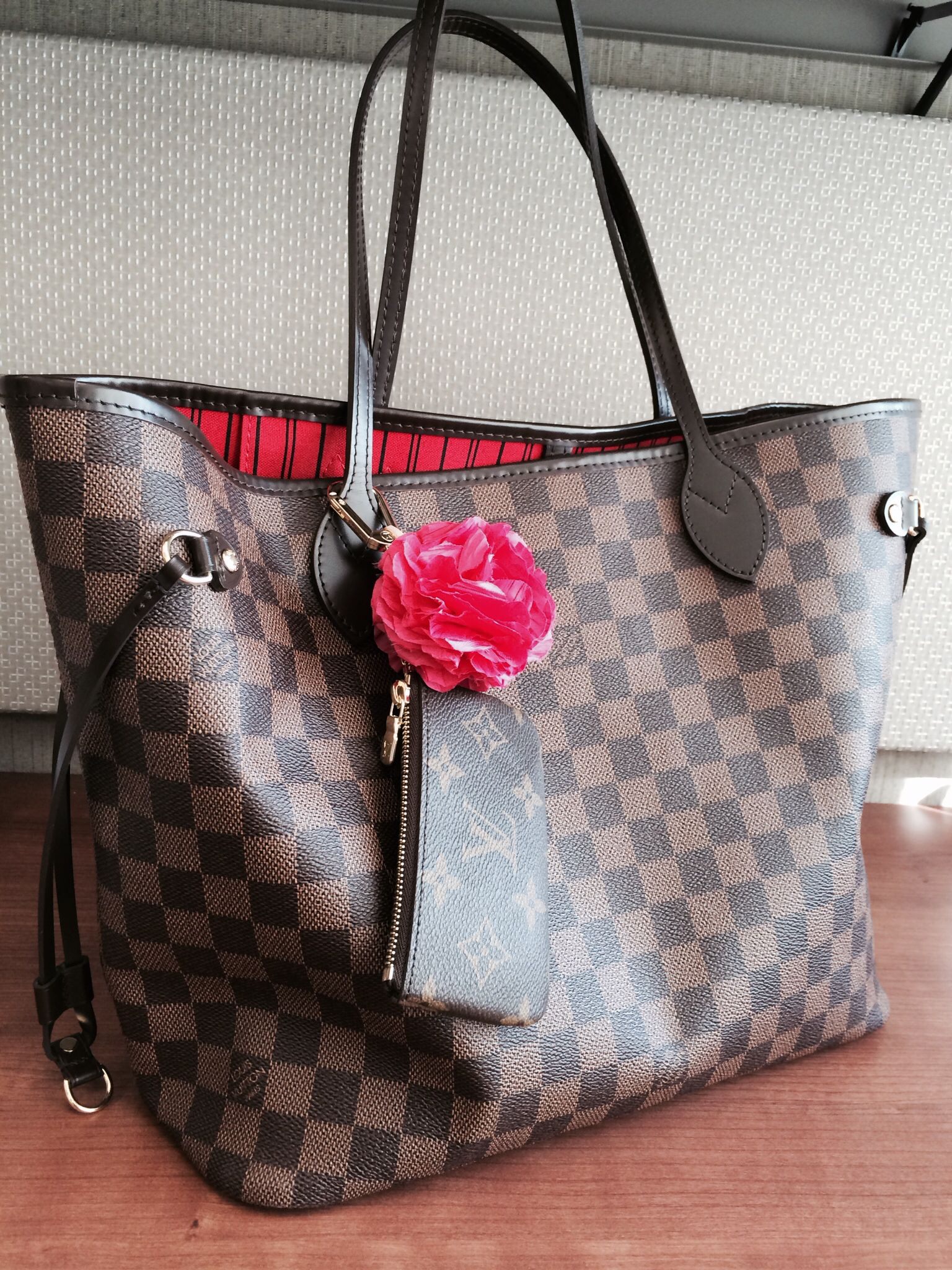 273b6b1ada55 Louis Vuitton Neverfull NM Damier Ebene (MM size) with LV Key Pouch in  Monogram and a made to order bag charm from Poppyhearts  (www.poppyhearts.com).