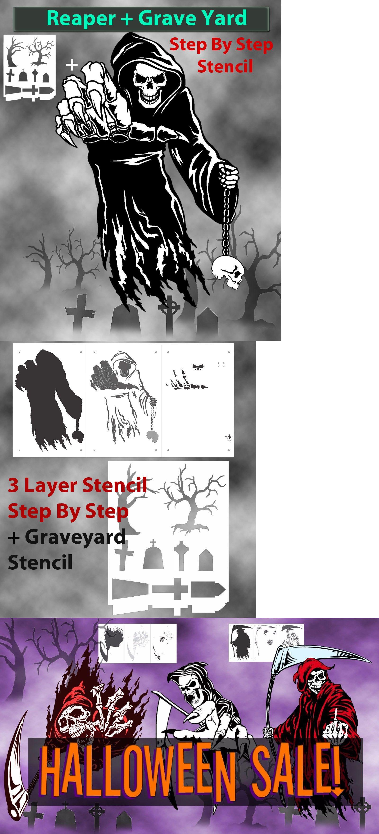 Stencils and Templates 183185: Grim Reaper 11 Airbrush Stencil Multi ...