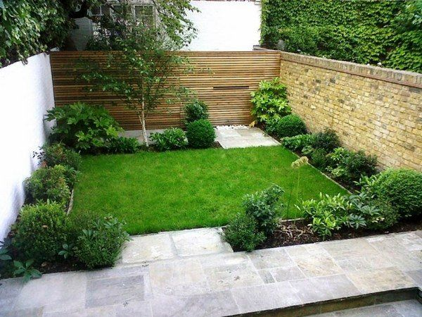 small garden design ideas wooden fence brick wall shrubs small lawn - Small Garden Design Ideas Wooden Fence Brick Wall Shrubs Small