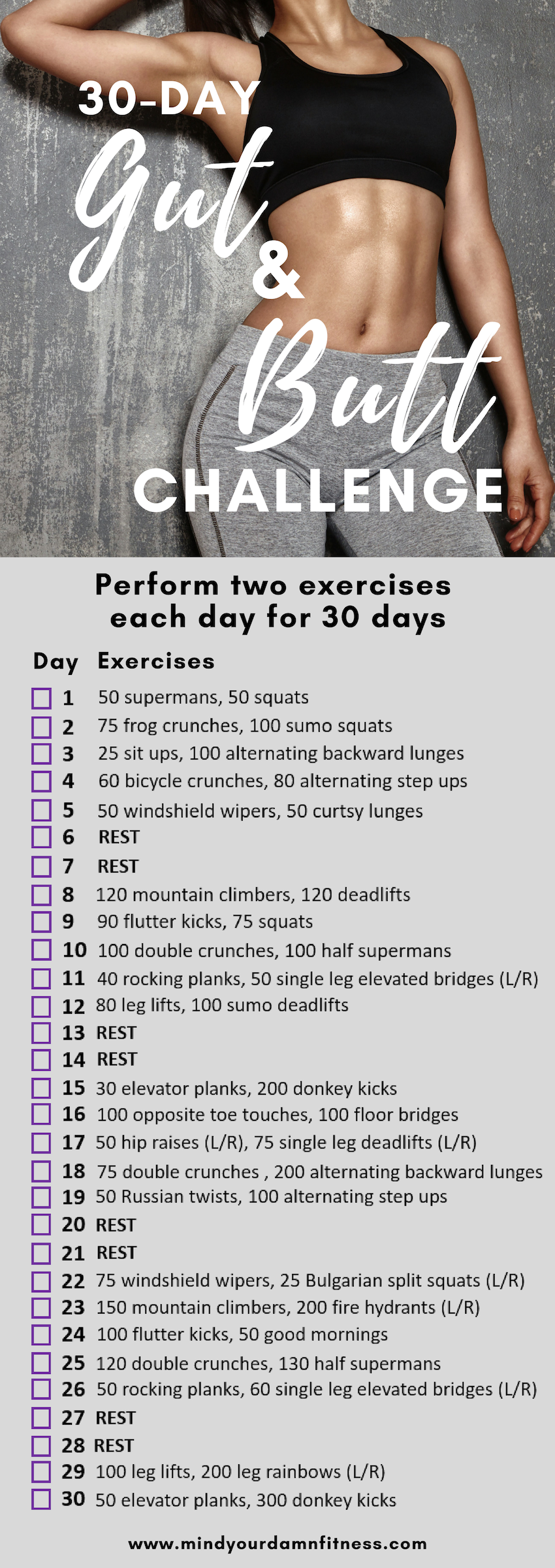 The Ultimate 30-Day Gut and Butt Challenge #fitnesschallenges