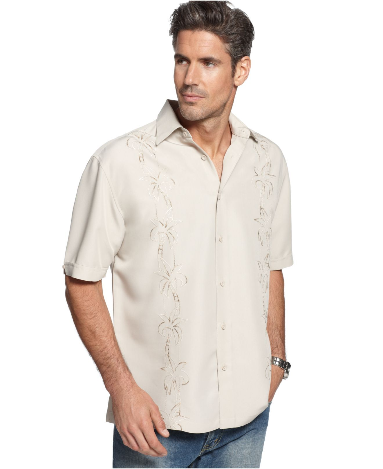 Cubavera shirt embroidered palm tree shirt mens casual for Mens button down shirts