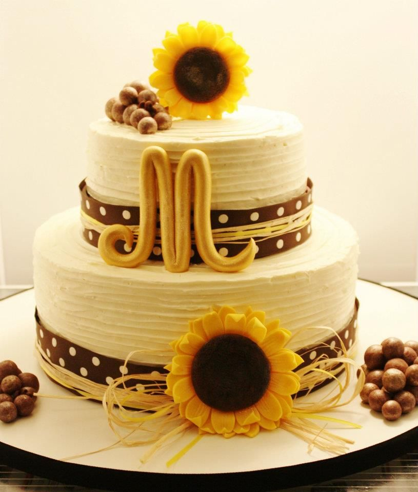 Sunflower Wedding Cake Ideas: But With JD Green Ribbon.... Not Sure