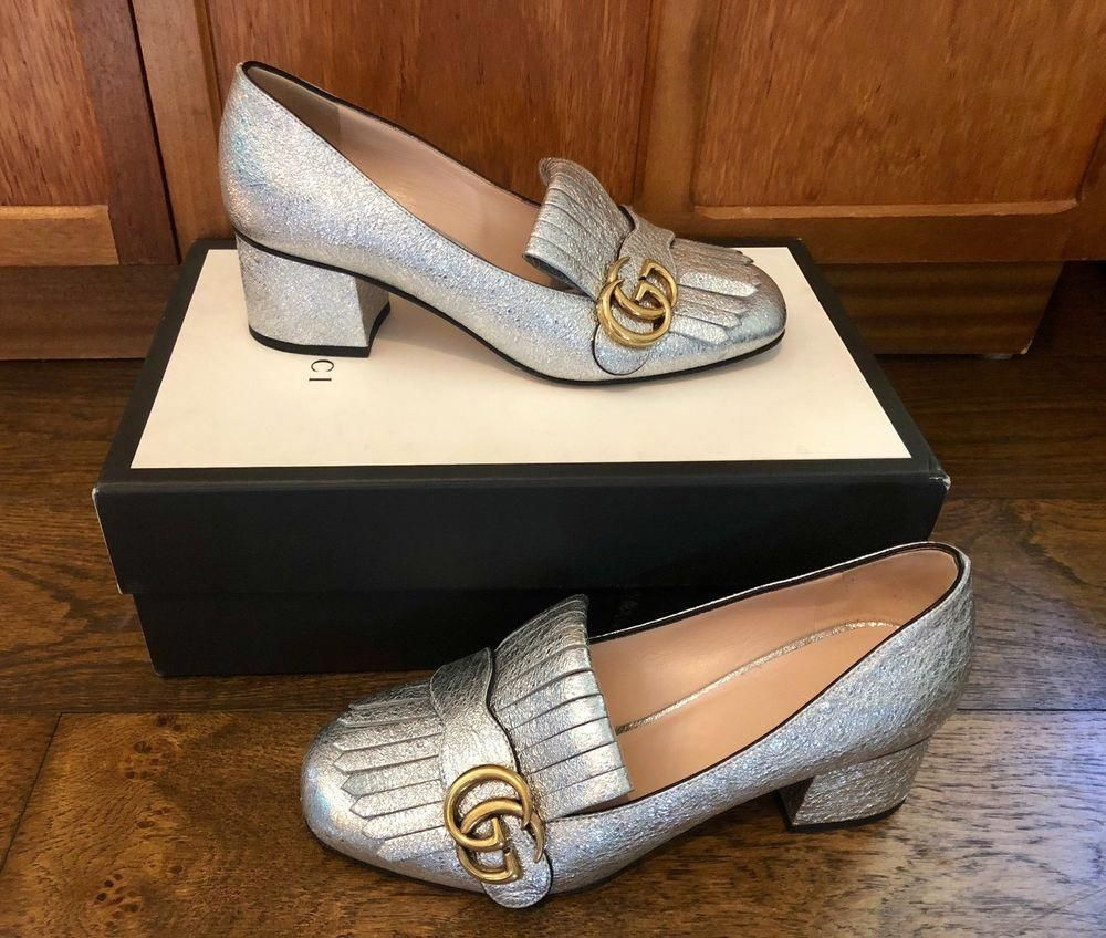 e621b46e296a GENUINE GUCCI SILVER METALLIC MARMONT 585 MID HEELS  fashion  clothing   shoes  accessories  womensshoes  heels (ebay link)  Womensshoes8.5Ww