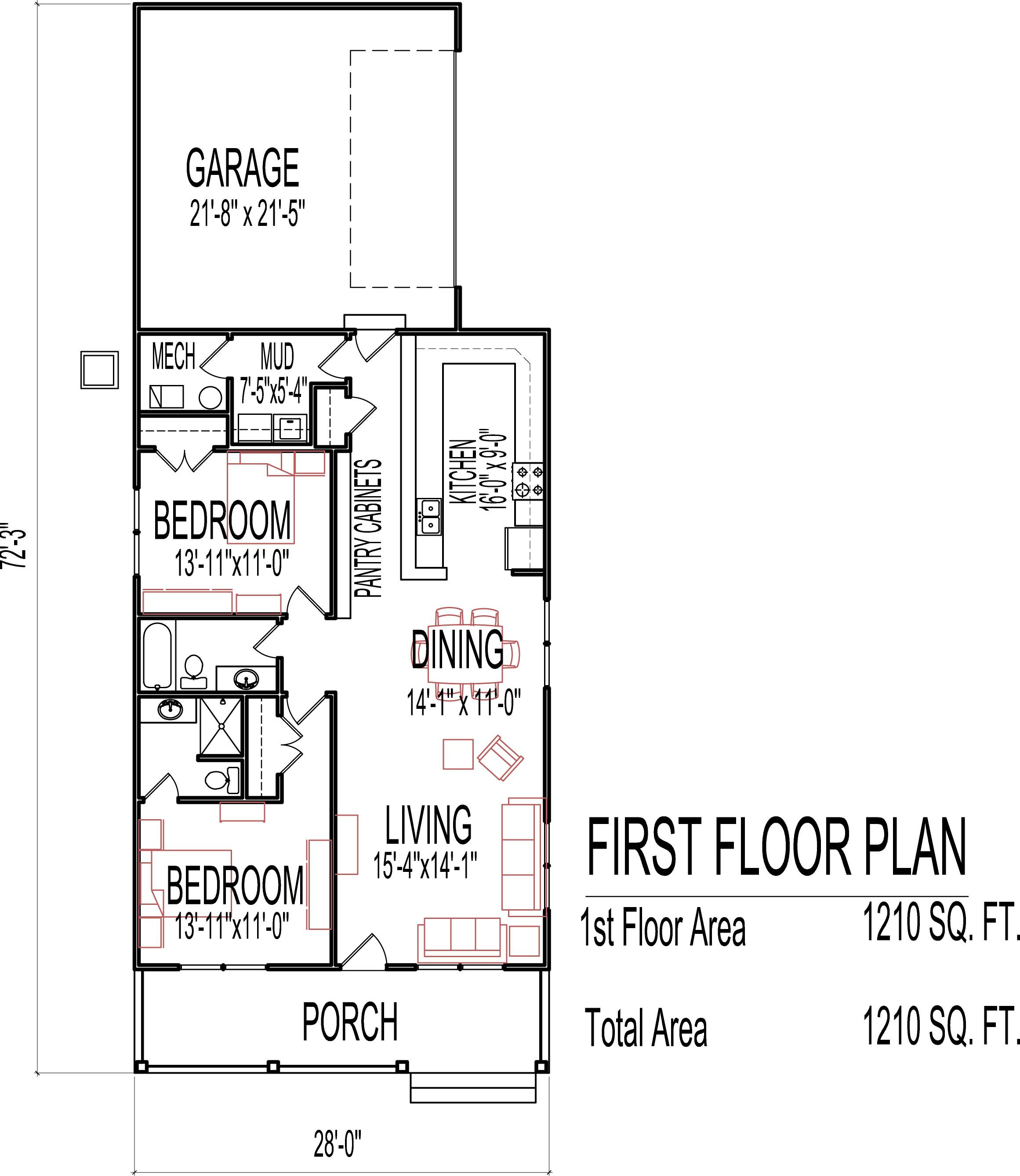 Small low cost economical 2 bedroom 2 bath 1200 sq ft One level home floor plans