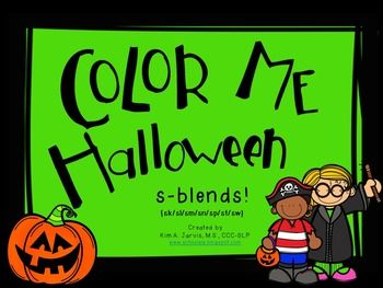 Color Me Halloween: S-blend Sounds | Products for Speech Therapists ...