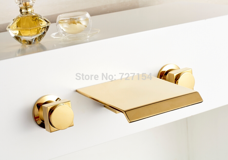 64.35$  Watch here - http://ali1z8.worldwells.pw/go.php?t=1982181720 - Free Shipping! Modern Waterfall Bathroom Basin Faucet Golden Finish Sink Mixer Tap Dual Handles 64.35$