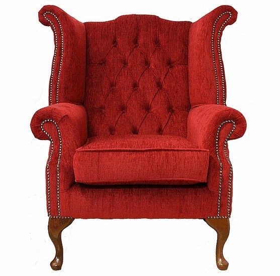 Chesterfield Fabric Queen Anne High Back Wing Chair Flame Red, Leather Sofas, Traditional Sofas