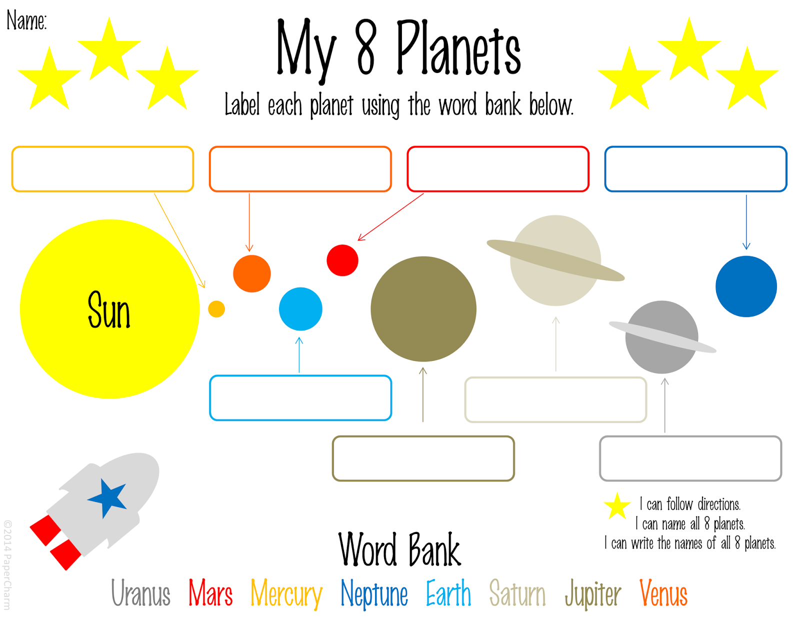 Free 1st Grade Planet Printables First Grade Worksheets Solar System Worksheets 1st Grade Worksheets